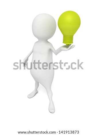 3D Man with Green Lighting Bulb on White Background