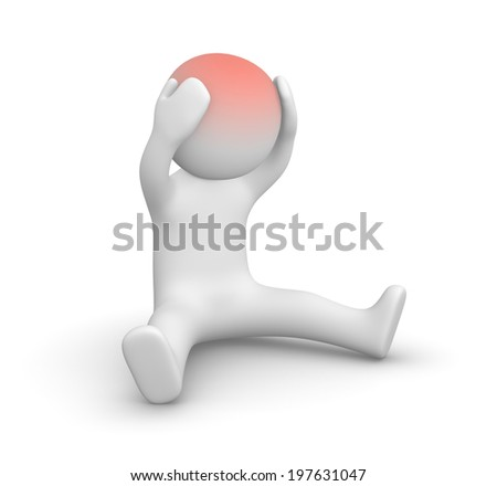 3d man with head ache