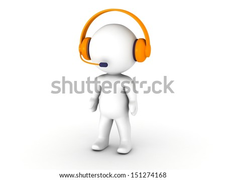 3D Man With Headset Call Center Support