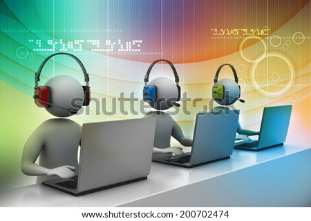 3D man with headset talking over the phone - stock photo