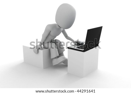 3d man with laptop