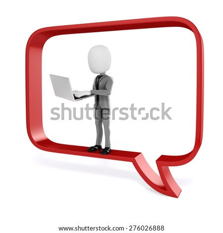 3d man with laptop in a big red bubble talk - stock photo