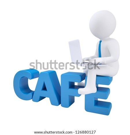 3d man with laptop sitting on CAFE. Isolated render on a white background
