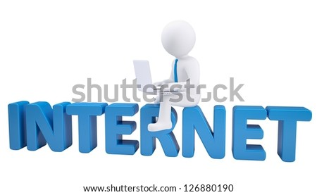 3d man with laptop sitting on the INTERNET. Isolated render on a white background - stock photo