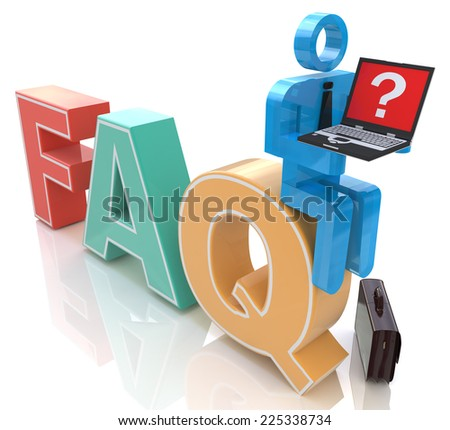 3d man with laptop sitting on the word FAQ in the design of information related to frequently asked questions - stock photo