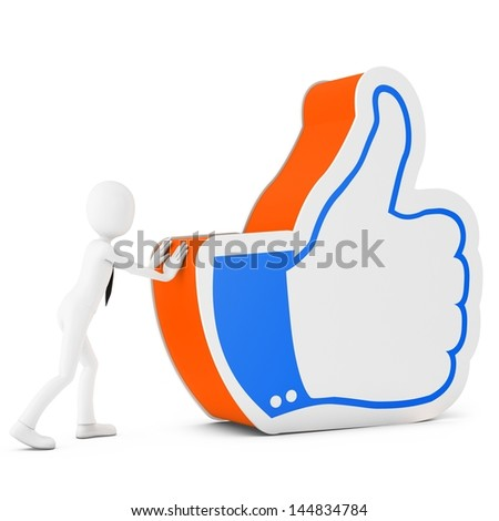 3d man with  like symbol on white background - stock photo