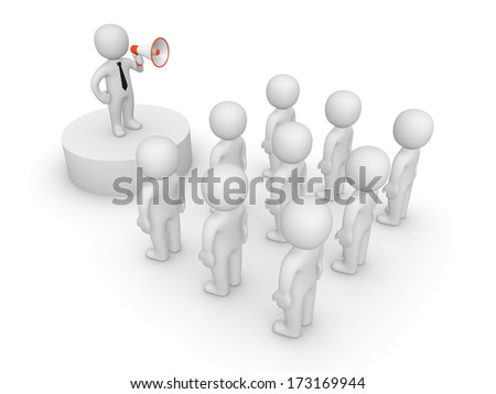 3d man with loudspeaker talking to crowd - stock photo