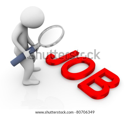 3d man with magnifying glass searching for job - stock photo