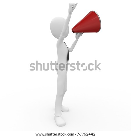 3d man with megaphone isolated on white