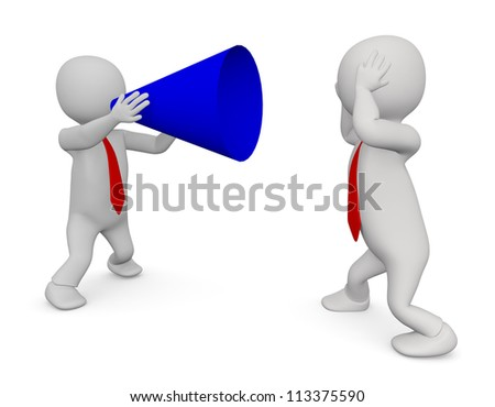 3d Man with Megaphone on White Isolated Background - stock photo