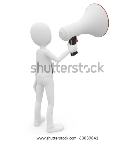 3d man with megaphone speaking loud isolated on white
