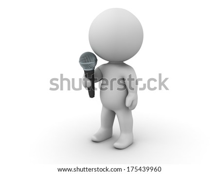 3D Man with Microphone