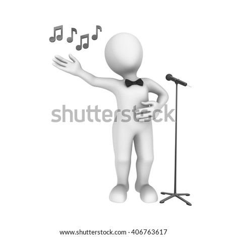 3d man with microphone sings the song. 3d illustration