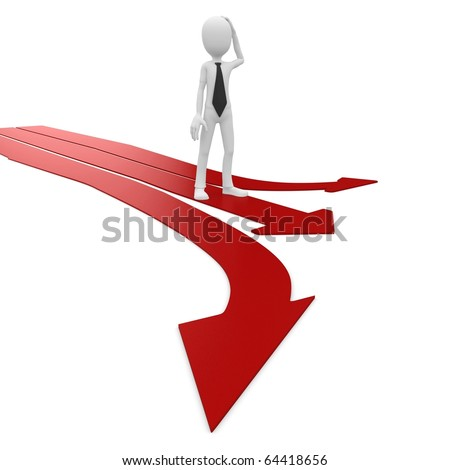 3d man with multiple arrow paths isolated on white - stock photo