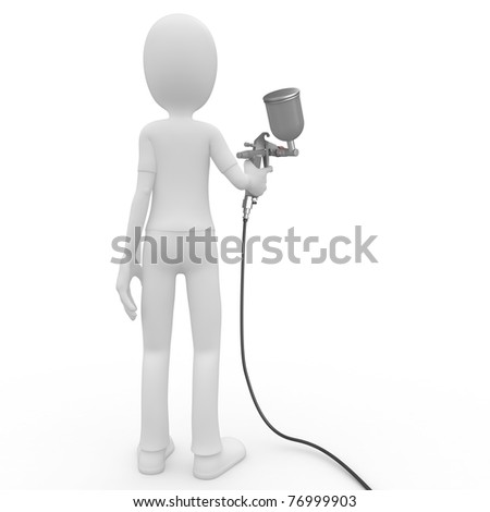 3d man with paint gun isolated on white