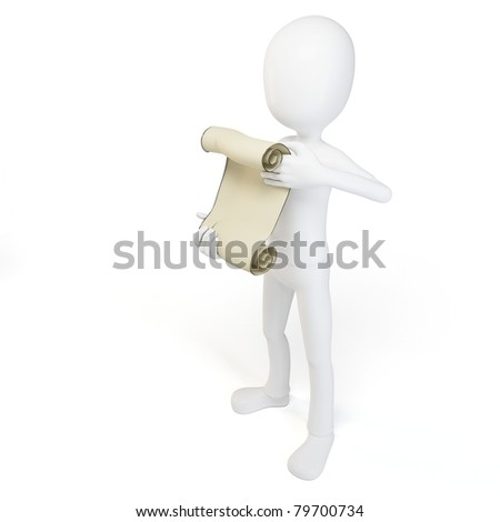 3d man with papyrus  isolated on white - stock photo