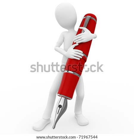 3d man with pen isolated on white background - stock photo