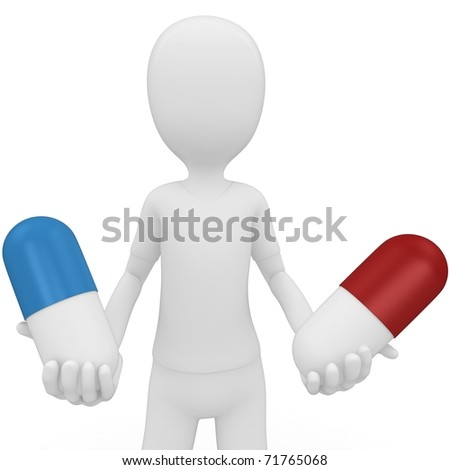 3d man with pills choose red or blue isolated on white - stock photo
