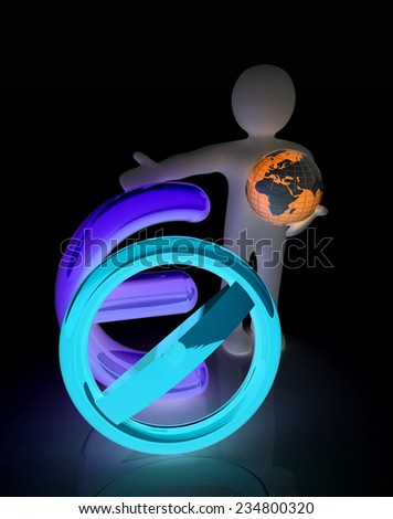 3d man with prohibition sign, Earth and euro - stock photo