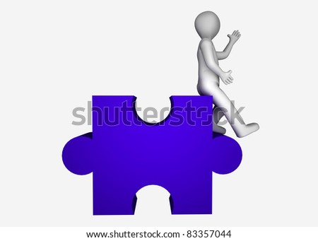 3d man with puzzle. - stock photo