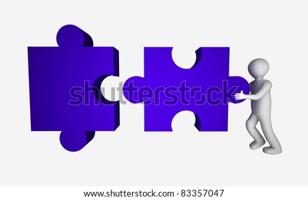 3d man with puzzle.