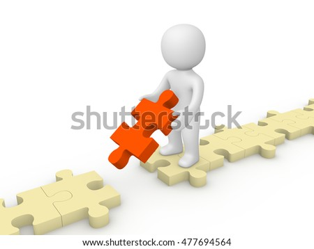 3d man with puzzle piece standing beside the gap. 3d render.