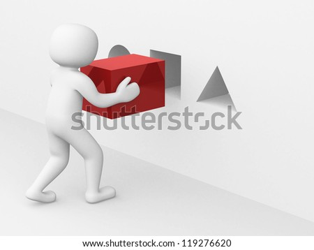 3d man with red cube - this is 3d render illustration - stock photo