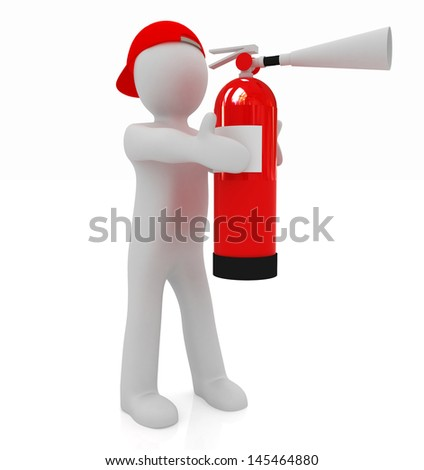 3d man with red fire extinguisher - stock photo