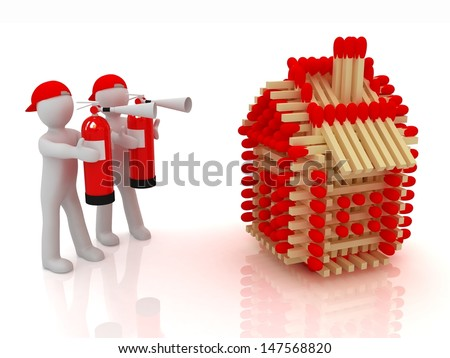 3d man with red fire extinguisher and log houses from matches pattern isolated on white  - stock photo