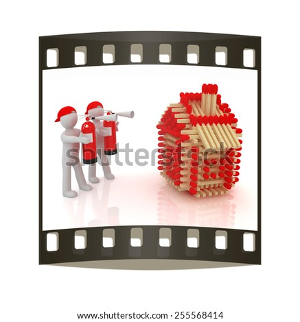 3d man with red fire extinguisher and log houses from matches pattern on white. The film strip - stock photo