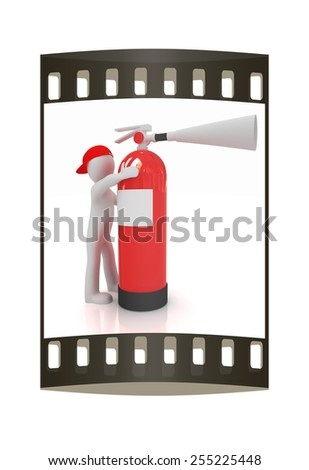 3d man with red fire extinguisher on a white background. The film strip - stock photo