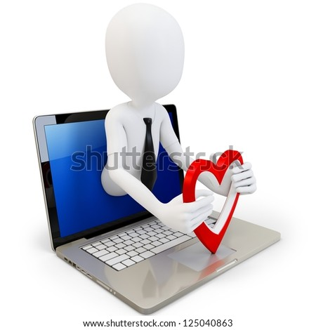 3d man with red heart and laptop on white background