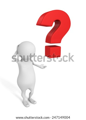 3d man with red question mark on white background. problem concept 3d render illustration - stock photo