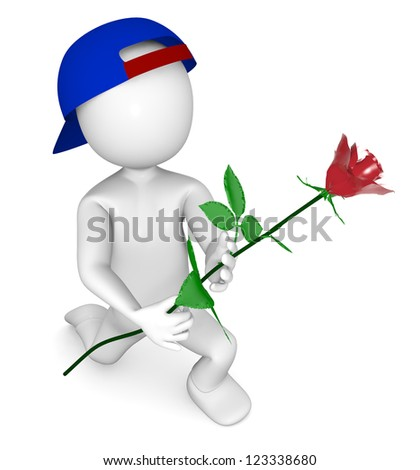 3d man with red rose on white isolated background - stock photo