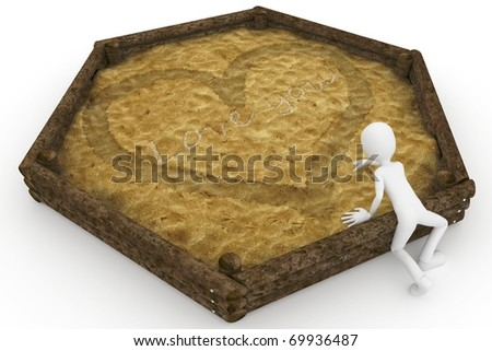 3d man with sandbox valentine's day love message isolated on white - stock photo