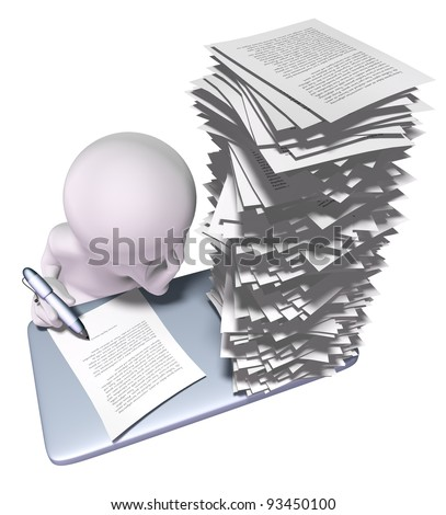 3d man with stack of papers on his desk - stock photo