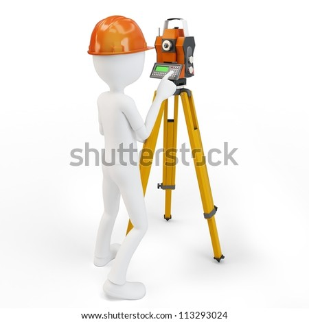 3d man with station surveying isolated on white - stock photo