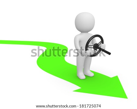 3d man with steering wheel standing on green arrow