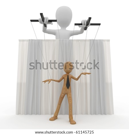 3d man with string puppet isolated on white - stock photo