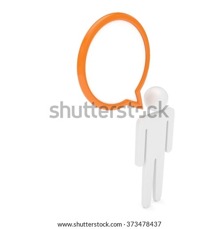 3d man with talk bubbles isolated over a white background