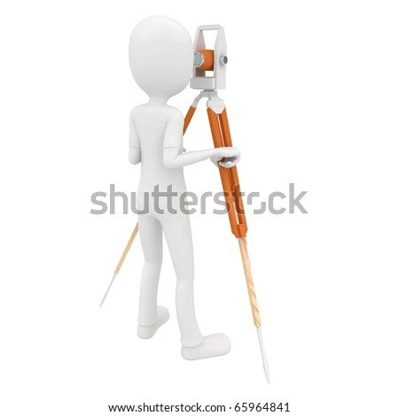 3d man with theodolite measuring isolated on white - stock photo