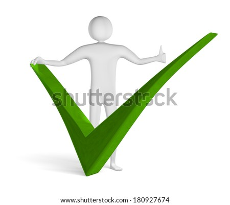 3d man with thumb up near big green tick isolated on white