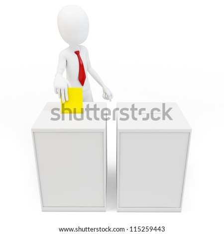 3d man with tie before a ballot box voting on white background
