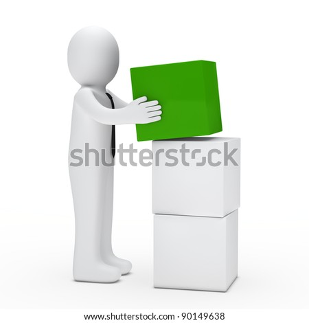 3d man with tie hold green cube - stock photo