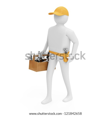 3d Man with Toolbox isolated on white background - stock photo