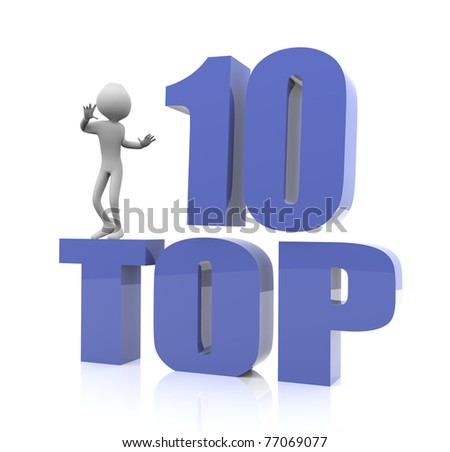 3d man with 'top 10' reflective text - stock photo