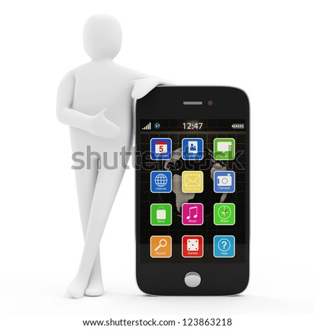 3d Man with Touchscreen Smartphone isolated on white background - stock photo
