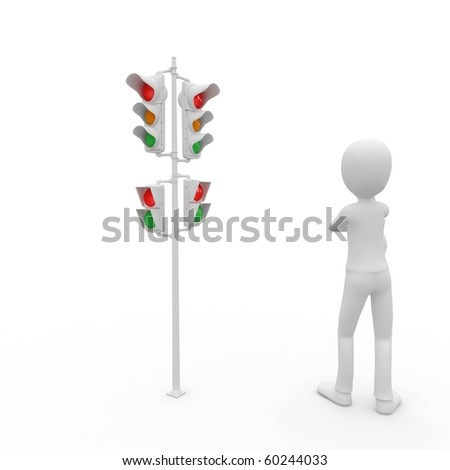 3d man with traffic lights isolated on white