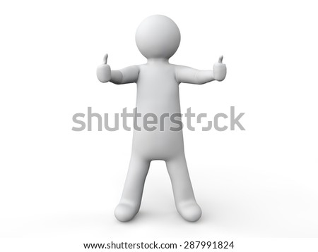 3d man with two thumbs up - stock photo