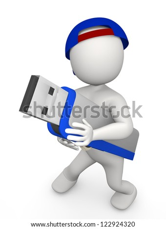 3d man with usb stick on white isolated background - stock photo